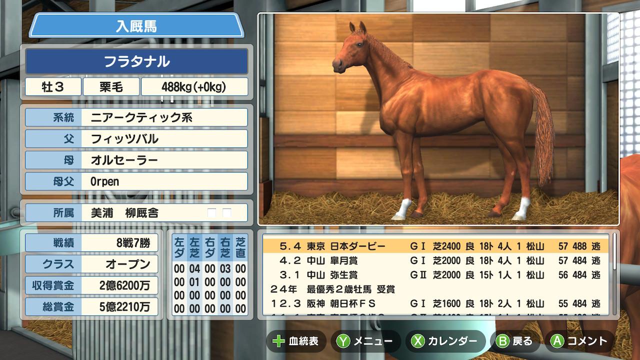 早熟型の4月1週入厩は活躍期間が短いですね。でも日本ダービーを獲るのには向いていました。