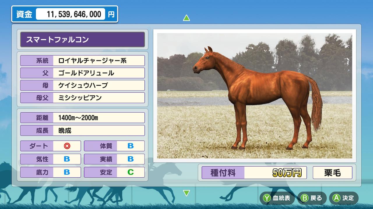 スマートファルコンは中距離型で安定Cの種牡馬。