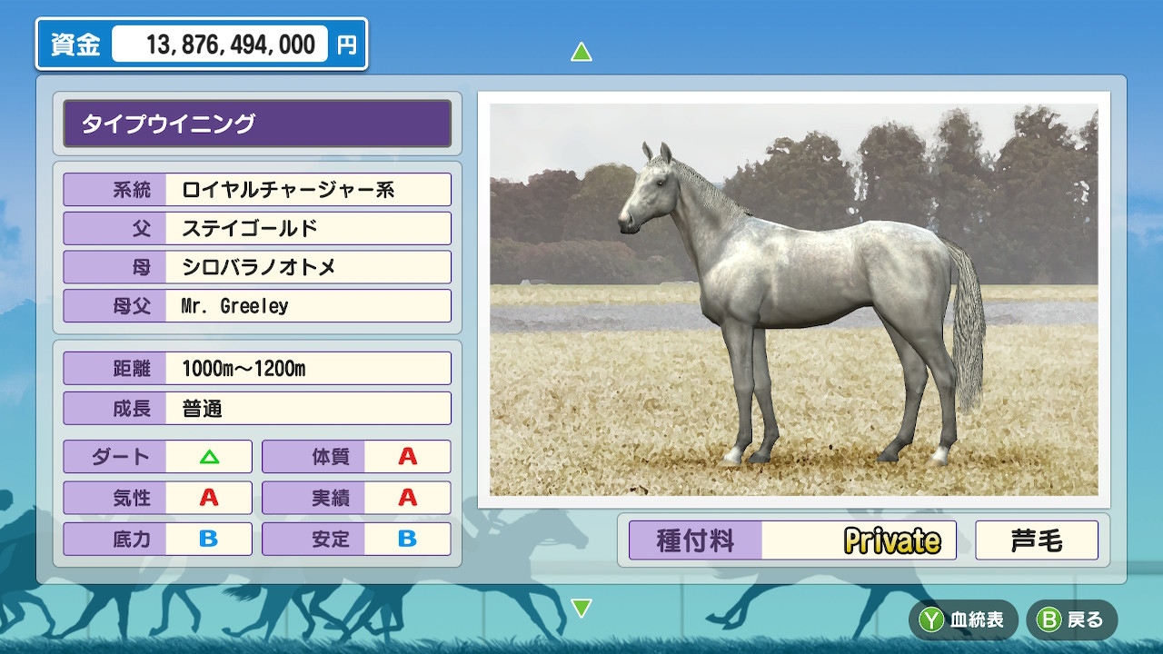 レースは無難に勝利。引退させて種牡馬パラメータを確認します。