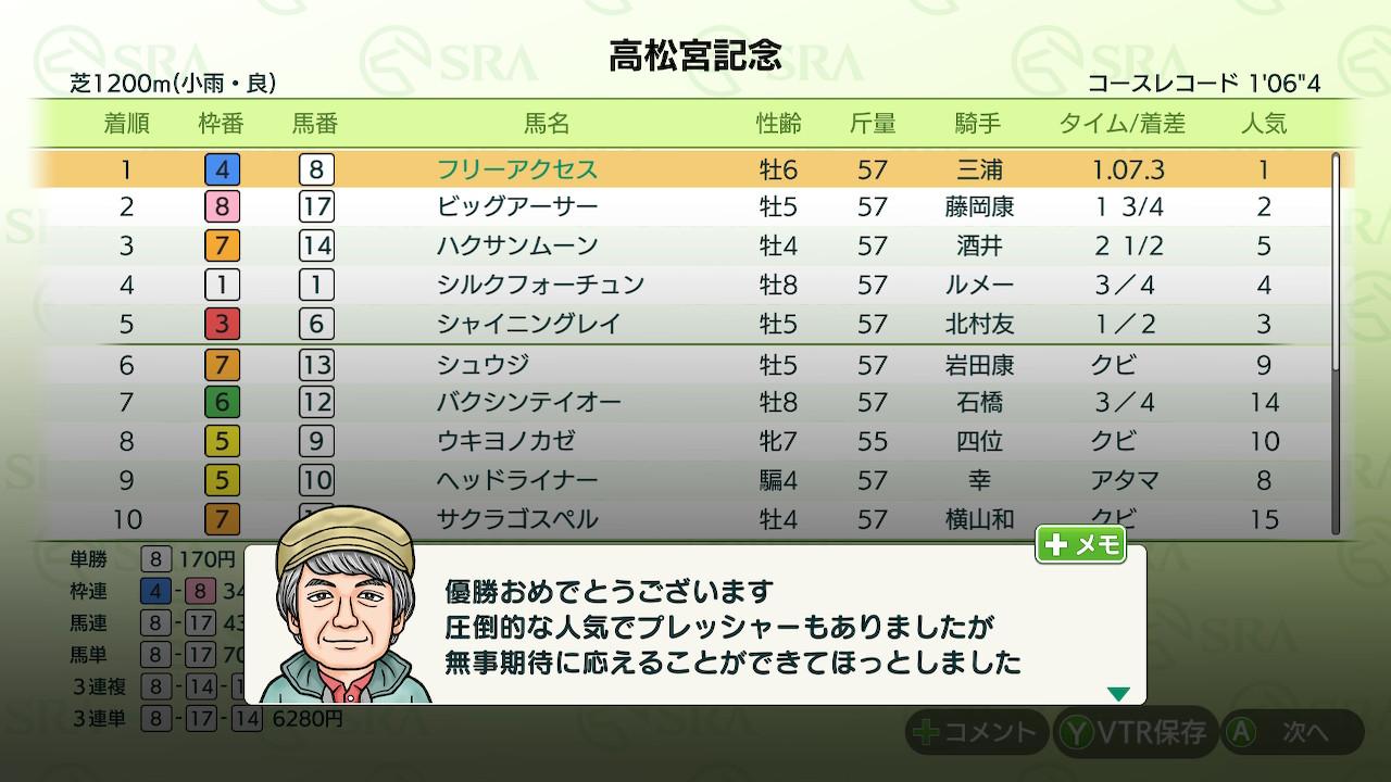 結局6歳まで戦い、高松宮記念で勝ちっぷりが弱々しかったので引退としました。
