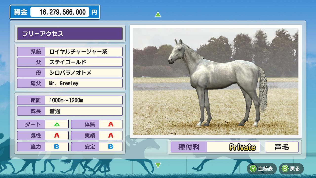 種牡馬パラメータは試走のときと同じです。