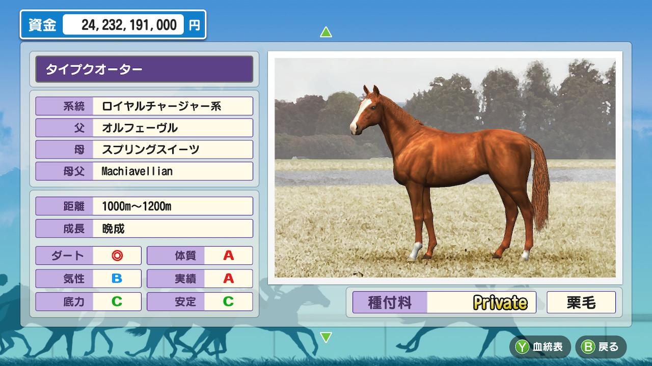 距離適性「1000m~」と、最高クラスのスピードでした。そして底力はやはりC。育てるにも、種牡馬としても、ちょっと厳しいですね。