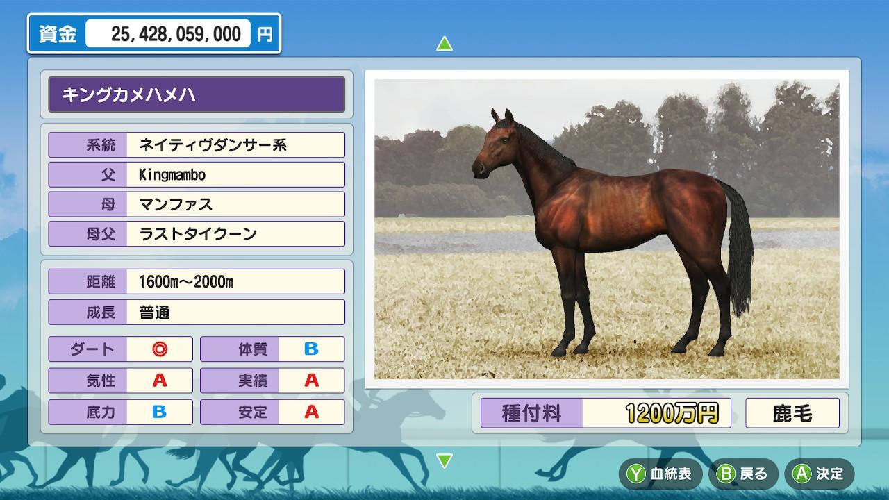 なので今回は安定Aのキングカメハメハを使ってバランス型の馬を狙ってみます。