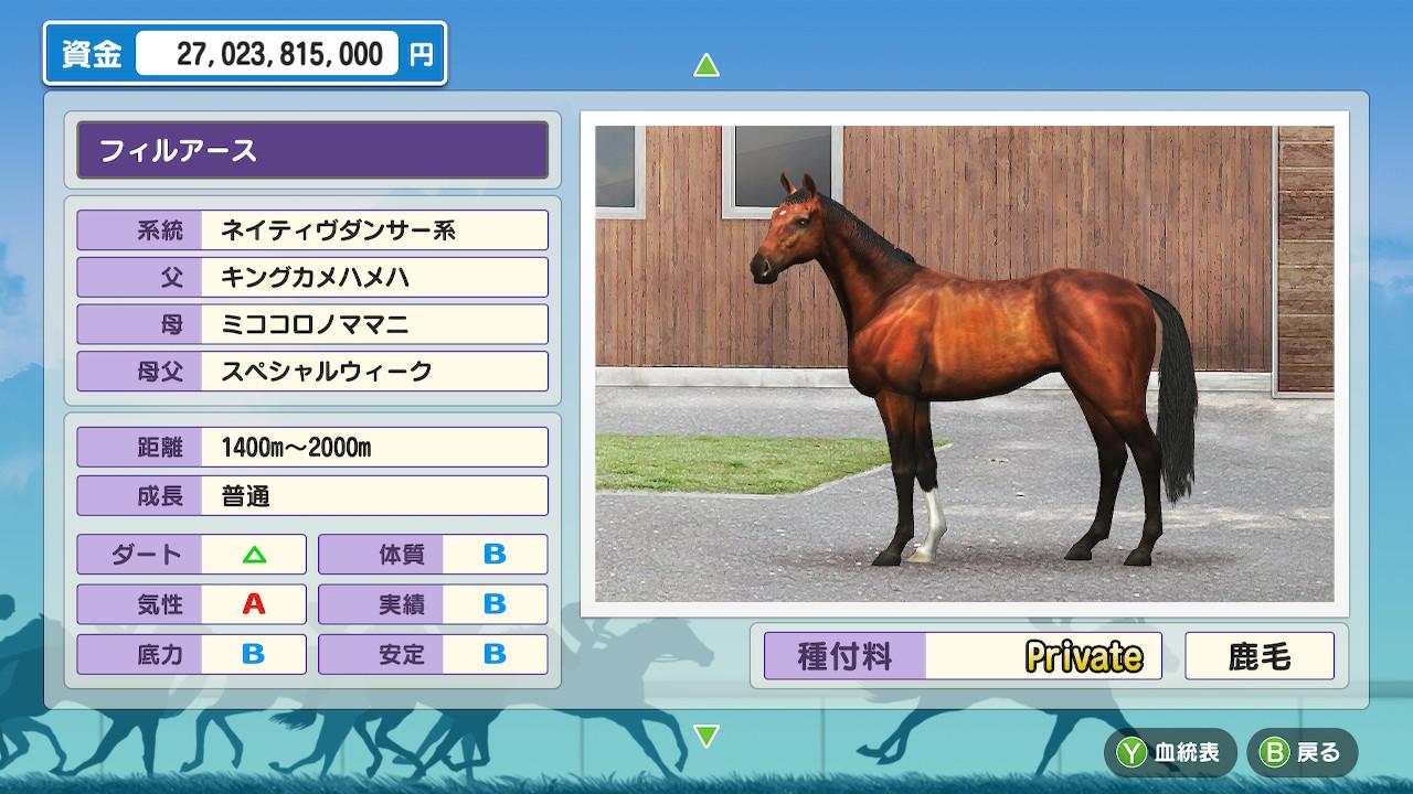 距離適性「1400~2000m」と、スピードとスタミナのバランスが取れた馬でした。