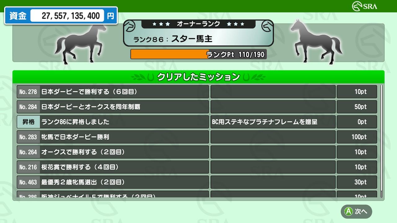無事にミッション「牝馬で日本ダービー勝利」を達成。加えて「日本ダービーとオークスを同年制覇」もクリアとなりました。1頭で両方勝ってもOKみたいですね。