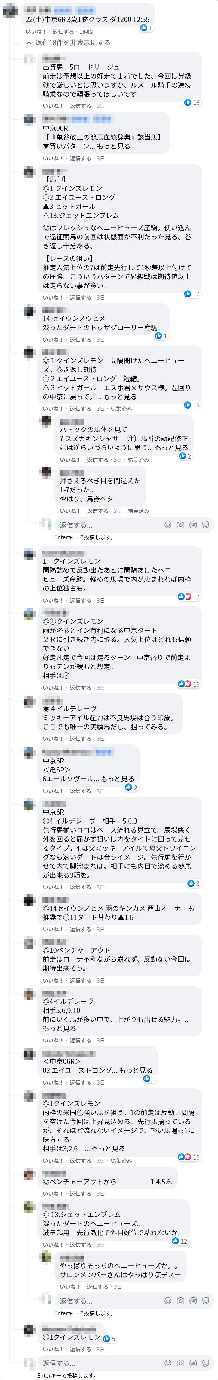 亀谷ファンにはお馴染みのヘニーヒューズかと思いますが、『亀谷競馬サロン』内ではクインズレモンが1人気でした。実際のFacebookページがこちらです。