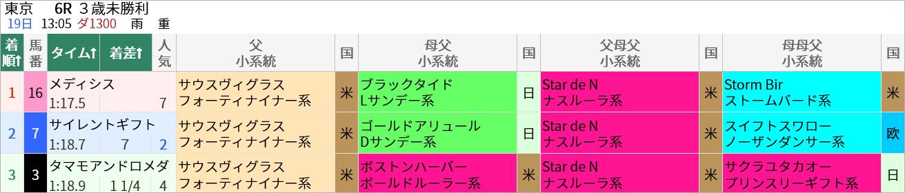 6/19(土)の東京6R・3歳未勝利(ダ1300m)ではサウスヴィグラス産駒が1着~3着を独占しました。